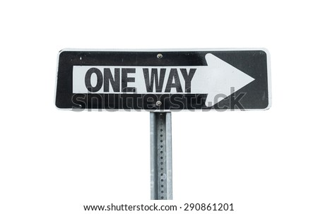 One Way direction sign isolated on white - stock photo