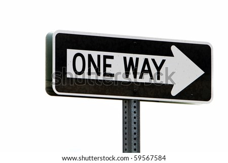 One way directional road sign - stock photo