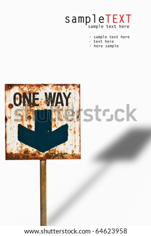 One way road sign isolated on white background - stock photo