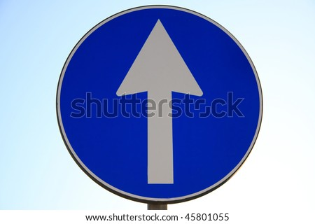 one way sign - stock photo
