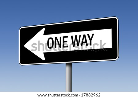 One-way sign against blue sky - stock photo