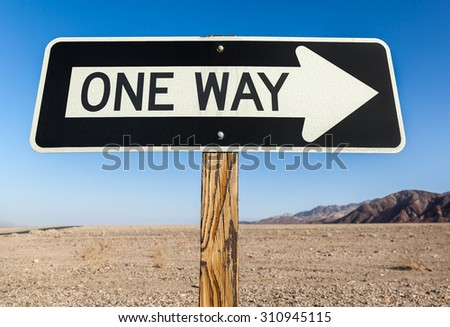 One Way Sign Close Up - stock photo