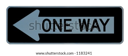 One way sign left sign isolated on a white background