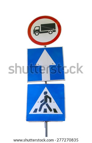 One-way traffic with pedestrian crossing isolated - stock photo