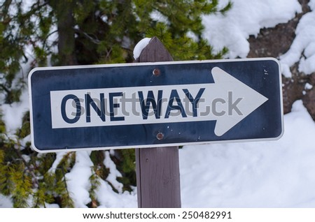 One way with snow background