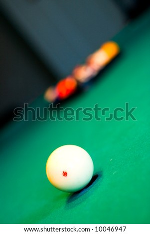 one white billiards ball on the table - stock photo