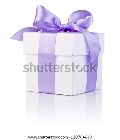 One White boxs tied Purple satin ribbon bow Isolated on white background - stock photo