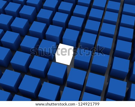 one white cube emerging from a common of blue cubes. 3D computer rendering - stock photo