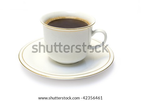 One white cup from coffee on white background