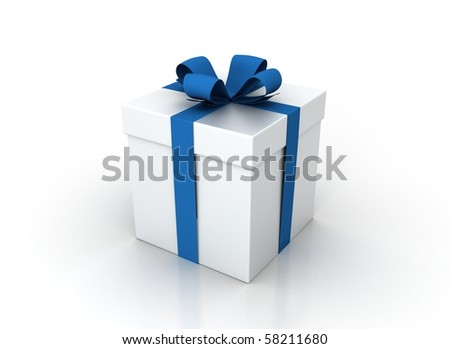 one white gift box with blue ribbon and bow isolated - stock photo