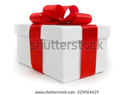 One white gift box with red bow isolated on white background