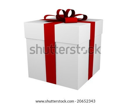 one white gift box with red ribbon and bow isolated - stock photo