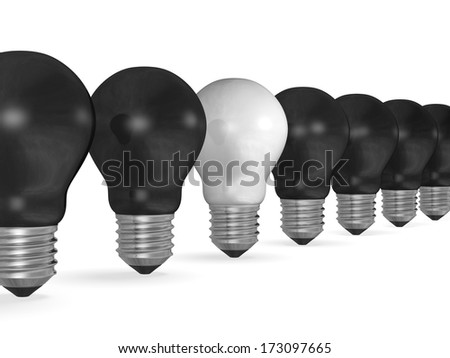 One white light bulb in row of many black ones isolated on white background