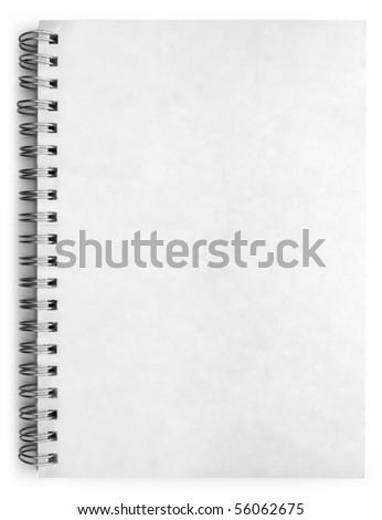 One white notebook isolated on white background - stock photo
