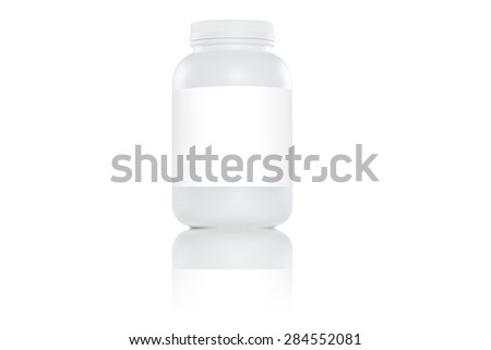 One white plastic bottles with white label on white background - stock photo