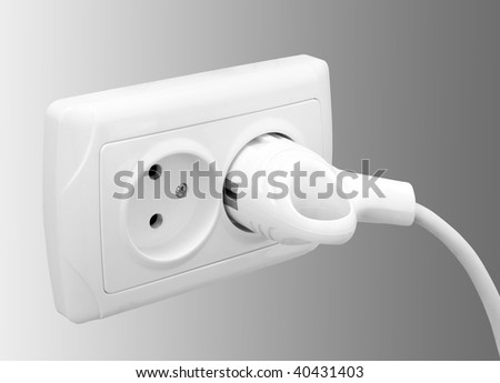One white socket isolated on white background
