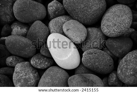 One white stone standing out among gray ones - stock photo