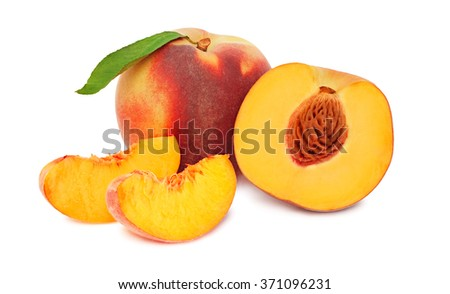 One whole and a half ripe peaches with slices isolated on white background - stock photo