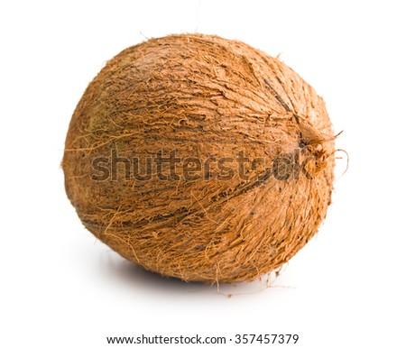 one whole coconut on white background - stock photo