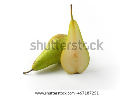 one whole pear and a half (cross section)