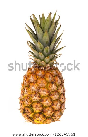 One whole pineapple fruits, standing in front of white background