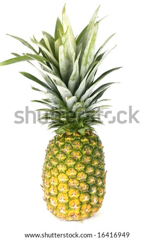 one whole pineapple on a white background