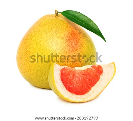 One whole red pomelo with green leaf and slice isolated on white background - stock photo