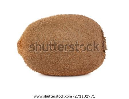 One whole ripe kiwi isolated on white background - stock photo