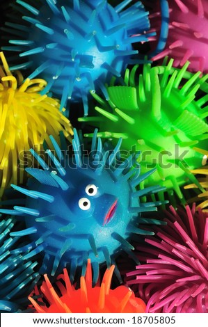 One wide-eyed squishy puffer fish lost in a sea of color