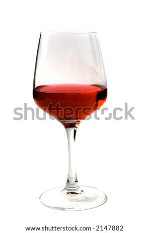 one wine glass with red drink isolated over white - stock photo