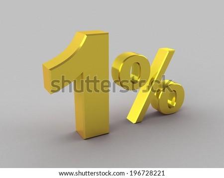 one with  percentage symbol  - stock photo