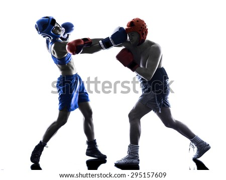 one woman boxer boxing one man  kickboxing  silhouette isolated  white background - stock photo