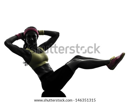one  woman exercising crunches fitness workout arms behind head in silhouette  on white background - stock photo