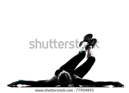 one woman exercising workout fitness aerobic exercise abdominal push ups posture on studio isolated white background - stock photo