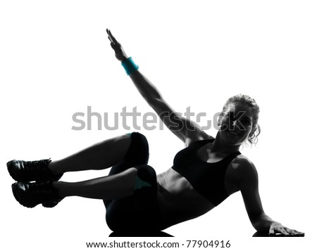 one woman exercising workout fitness aerobic exercise abdominal push ups posture on studio isolated white background - stock photo