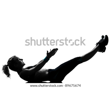 one woman exercising workout fitness aerobic exercise abdominals push ups lying on back posture on studio isolated white background - stock photo