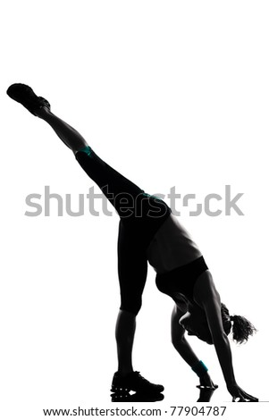 Workout fitness aerobic exercise posture on studio isolated white