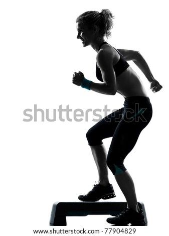 one woman exercising workout fitness aerobic exercise posture on studio isolated white background - stock photo