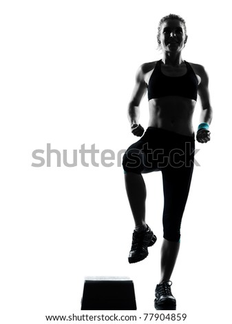 one woman exercising workout fitness aerobic exercise posture on studio isolated white background - stock photo