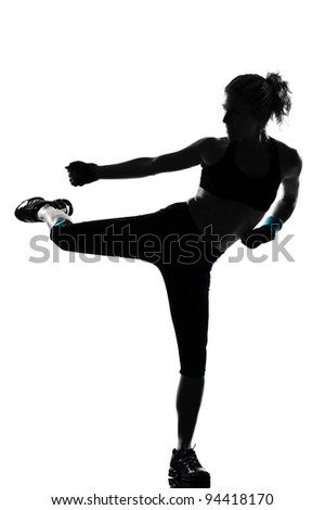 Fitness aerobic exercise posture on studio isolated white background