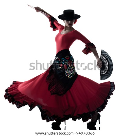 one woman gipsy flamenco dancing dancer on studio isolated white background - stock photo