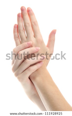 one woman hand massaged other, isolated on white
