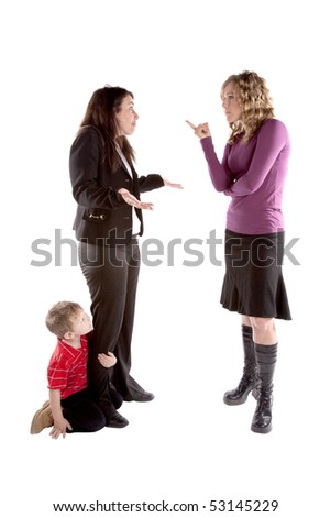 One woman has her child with her and is being scolded by her boss. - stock photo