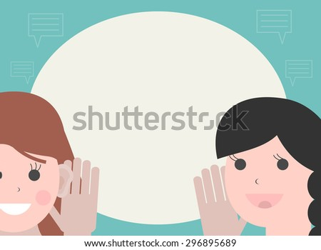 One woman holds hand at her ear and listening, the other  woman talking - stock photo