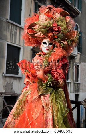 One woman in carnival mask on Venice carnival. - stock photo