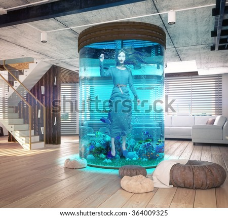 One woman in the  aquarium. The modern loft interior with aquarium. Photo and cg elements combination  concept - stock photo