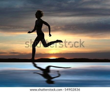 One woman running during sunset