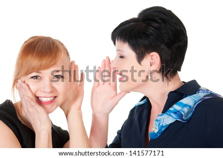 One woman said softly in his ear the other, isolated on white background - stock photo