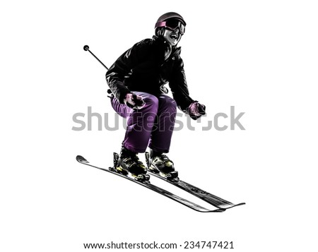 one  woman skier skiing jumping in silhouette on white background - stock photo