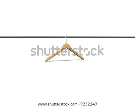 one wood coat hanger on tube - stock photo